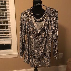 Gorgeous wide shoulder cowl neck blouse size 2x